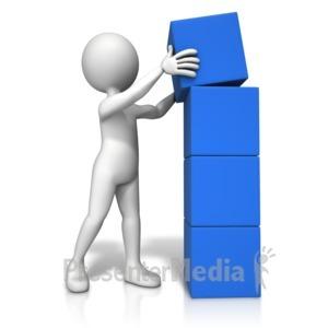 Stickman building blocks anim. Block clipart animated
