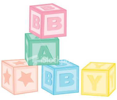 Blocks clipart one. Illustration of baby clipartmonk