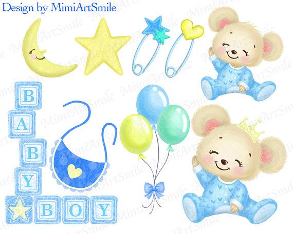 Shower teddy bear stroller. Block clipart baby boy