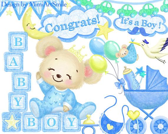 Block clipart baby boy. Shower teddy bear stroller
