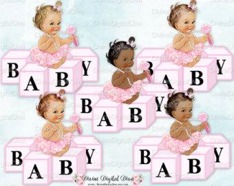Vintage ballerina pink tutu. Blocks clipart baby girl
