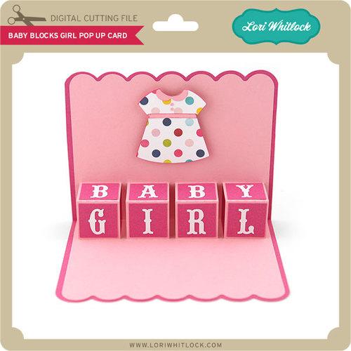Blocks pop up card. Block clipart baby girl