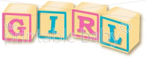 Block letter wordart alphabets. Blocks clipart baby girl