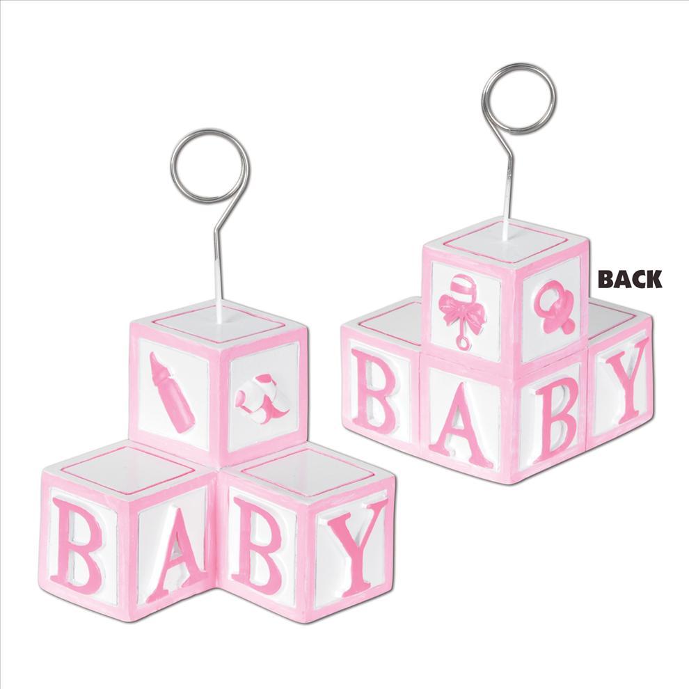 Photo holder balloon weight. Blocks clipart baby girl