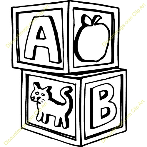 Blocks clipart black and white. Baby letters clip art