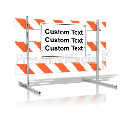 Standing road sign text. Block clipart blank block