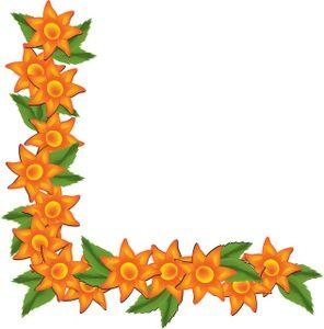 Block clipart border. Latest orange tropical flowers