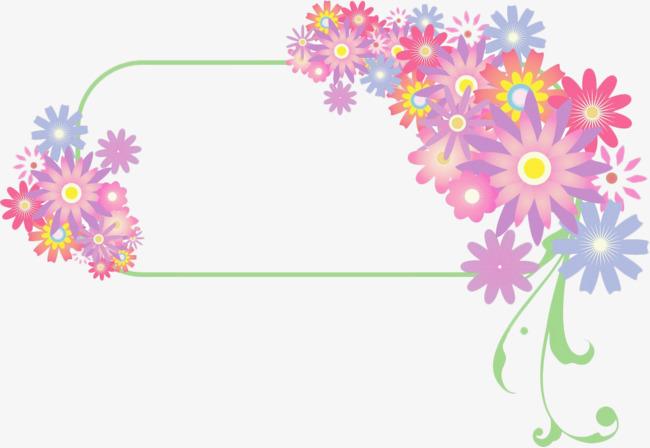 Colored flowers flower color. Block clipart border