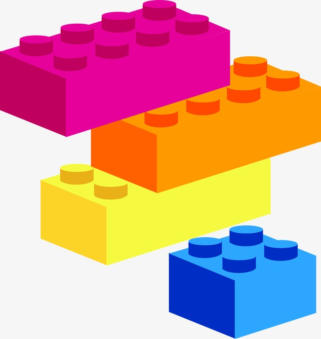 Plastic building color png. Blocks clipart colored block
