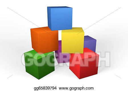 Block clipart building block. Stock illustrations colourful d
