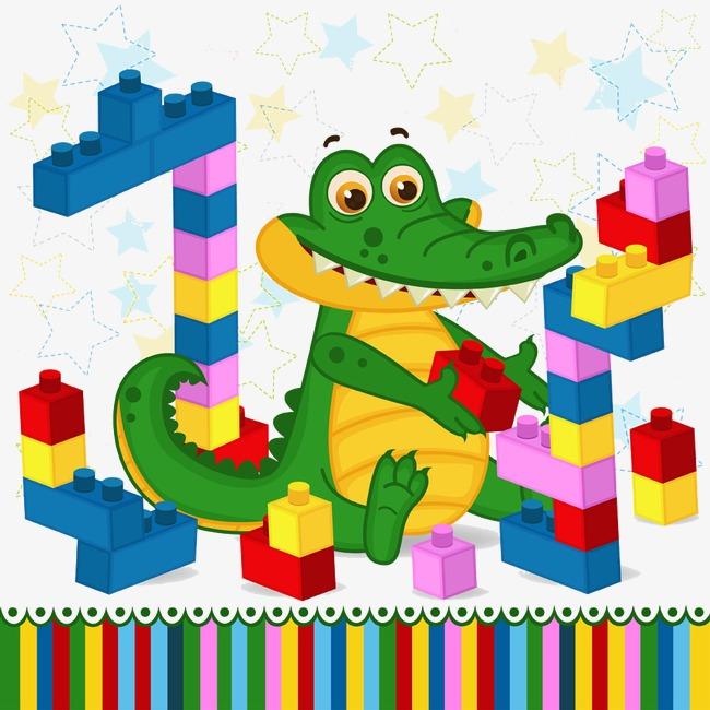Block clipart cartoon. Crocodile blocks building kids