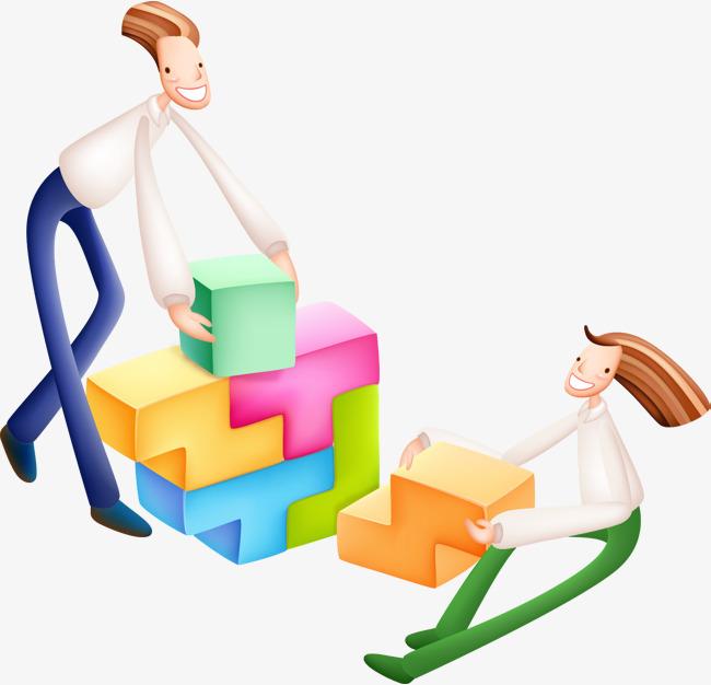 Blocks clipart cartoon. Business illustration block stacking
