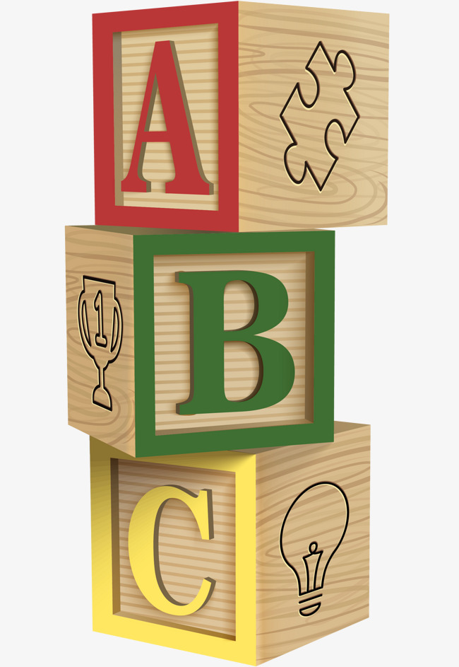 Block clipart cartoon. Vector stacking pattern building