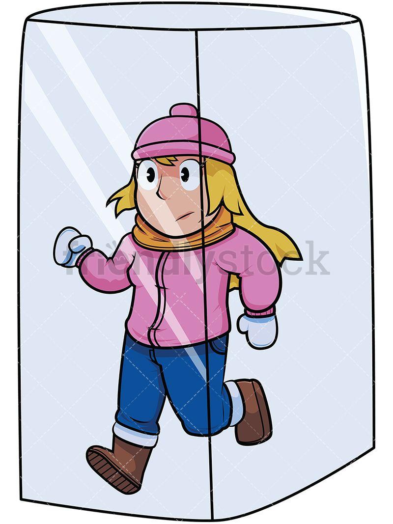 Block clipart cartoon. Woman in ice cube