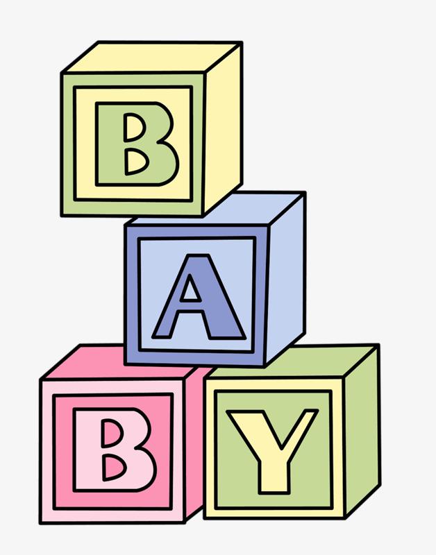 Hand painted alphabet baby. Blocks clipart cartoon