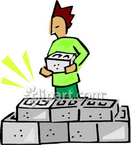 A person stacking cinder. Brick clipart stacked