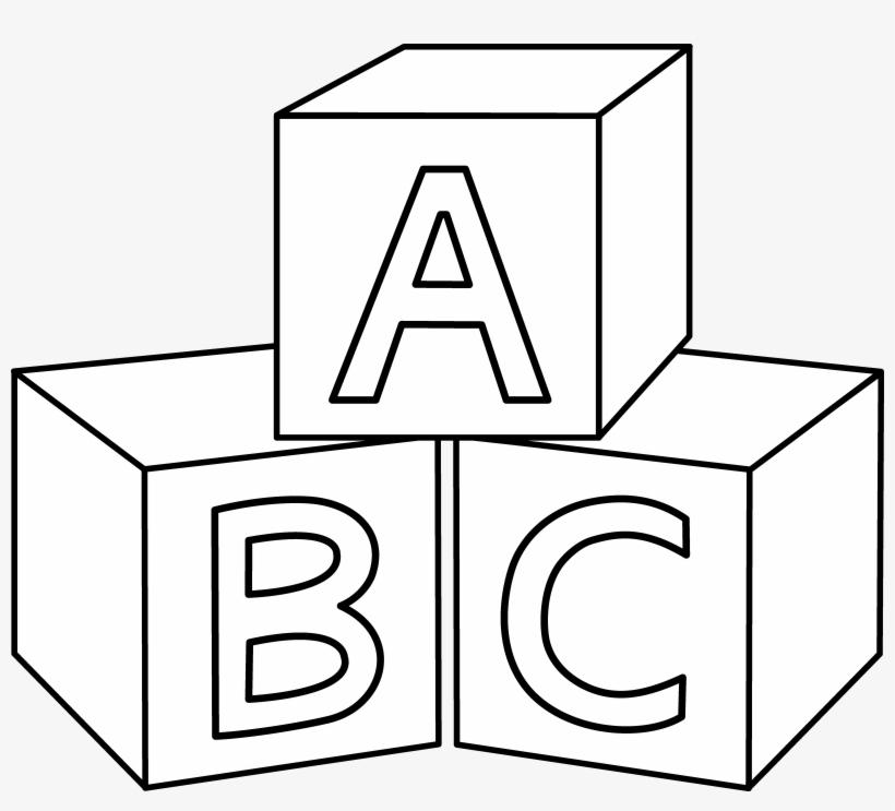 Blocks clipart colouring page. Abc coloring block black
