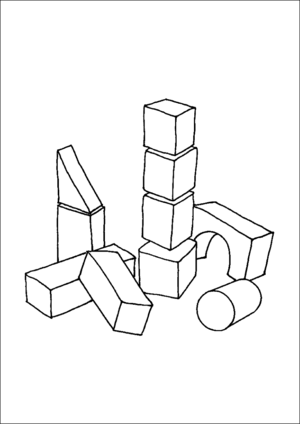 Building coloring . Blocks clipart colouring page