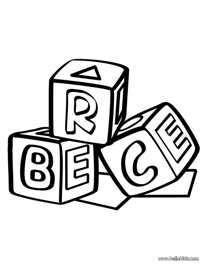 Building block coloring daycare. Blocks clipart colouring page