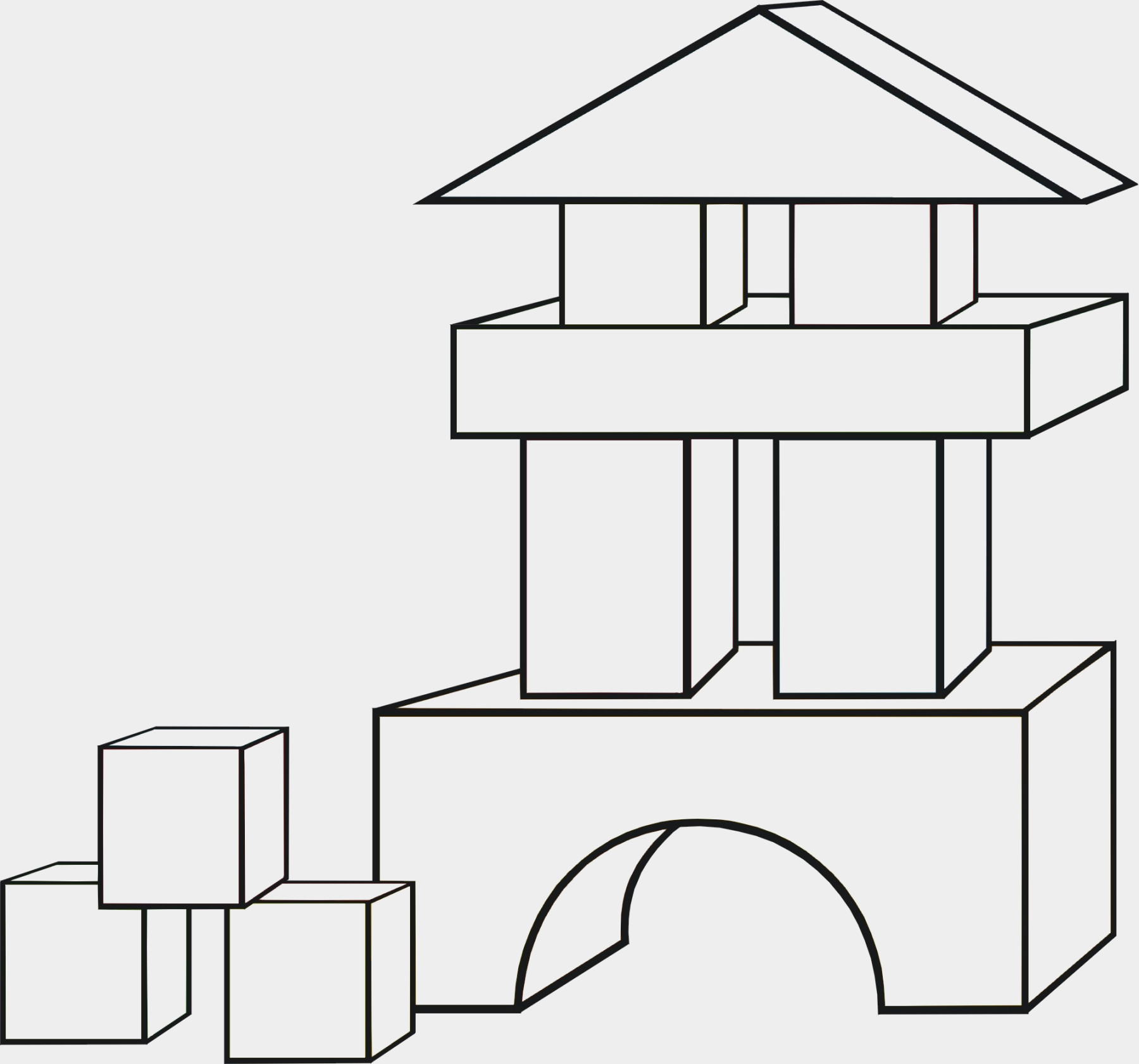 Blocks clipart colouring page. Building coloring pages g