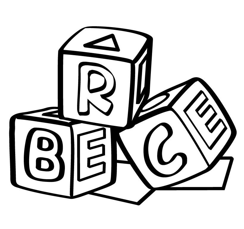 Block clipart colouring page. Coloring pages of alphabet