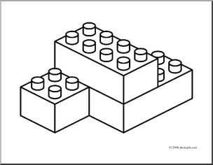 block clipart colouring page