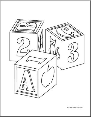 Coloring pages incep imagine. Blocks clipart colouring page
