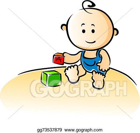 Vector cartoon baby playing. Blocks clipart cute