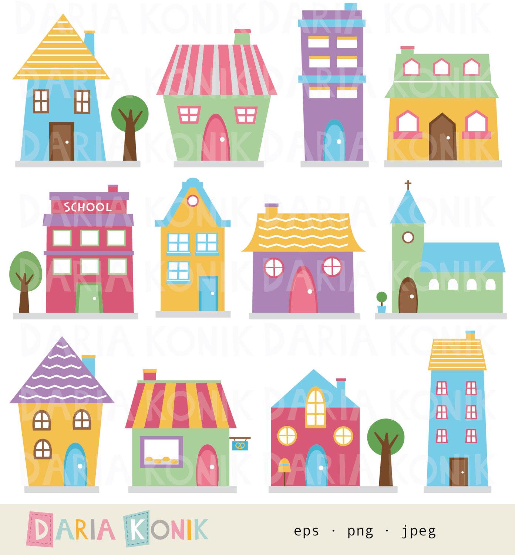 Block clipart cute. Houses clip art set
