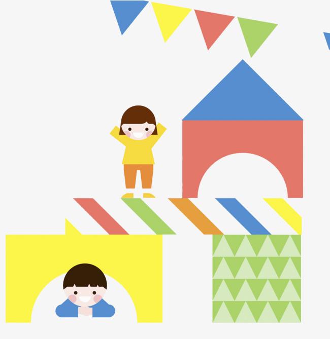 Flat wind combination illustration. Block clipart kindergarten