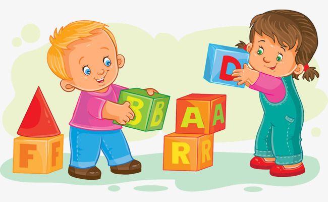 Block clipart kindergarten. Illustrator playing blocks children