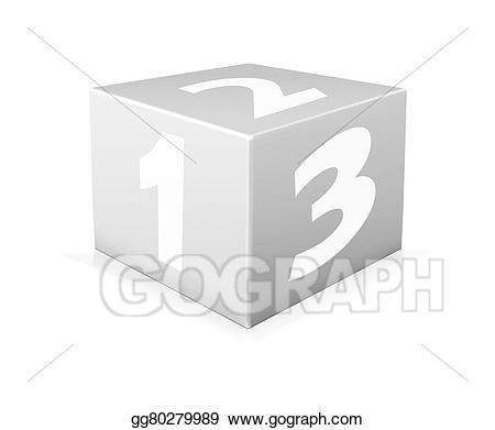 Block clipart one. Stock illustration on white