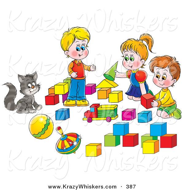 Critter of a cat. Block clipart play block