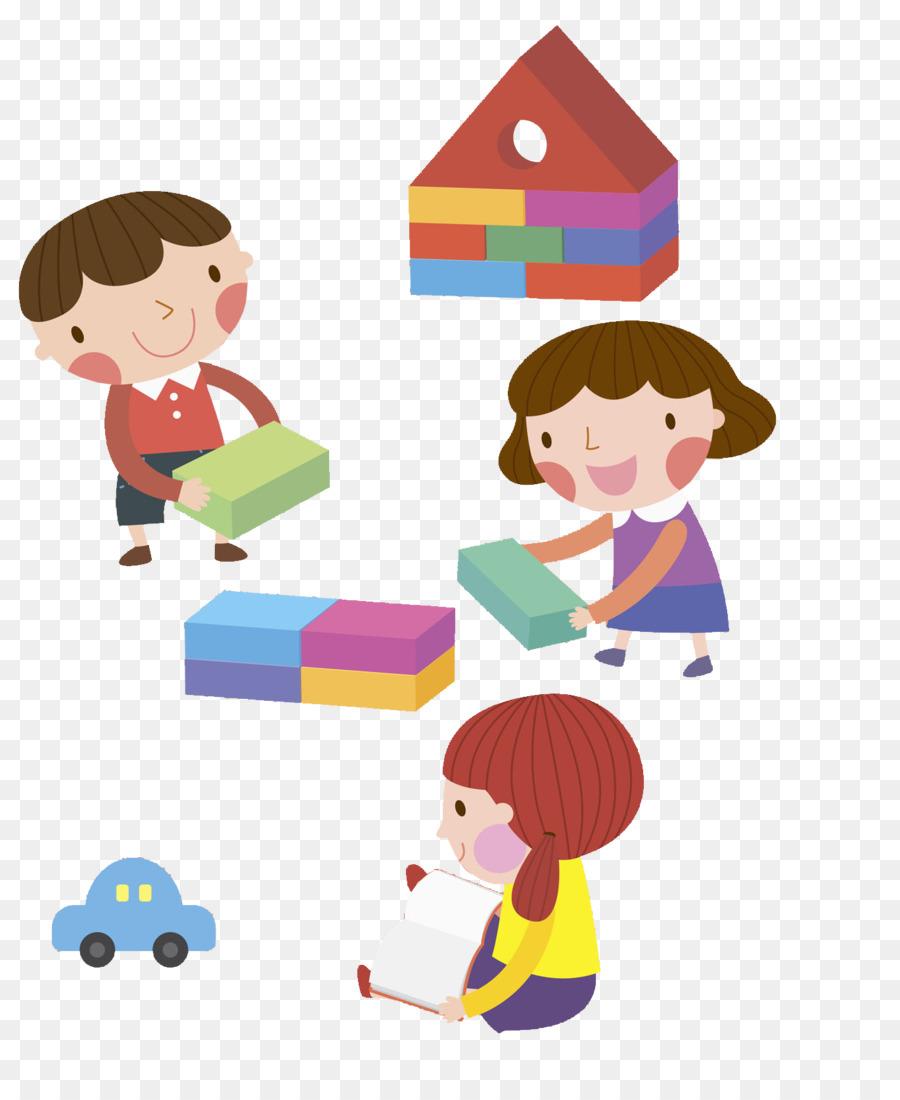 Child clip art illustration. Block clipart play block
