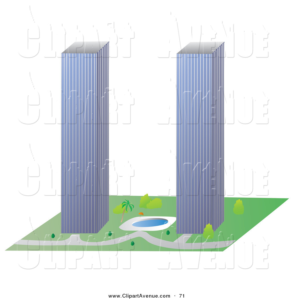 Twin tower building . Block clipart towers
