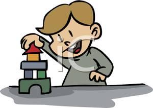 Blocks clipart cartoon. A small boy building