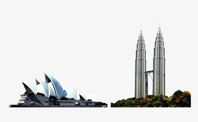 Landmark building opera twin. Block clipart towers