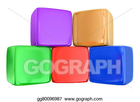 Stock illustration five boxes. Block clipart toy