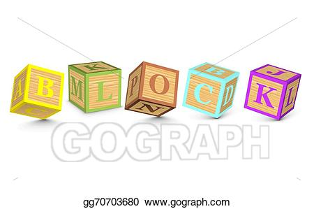 Block clipart vector. Stock word written with