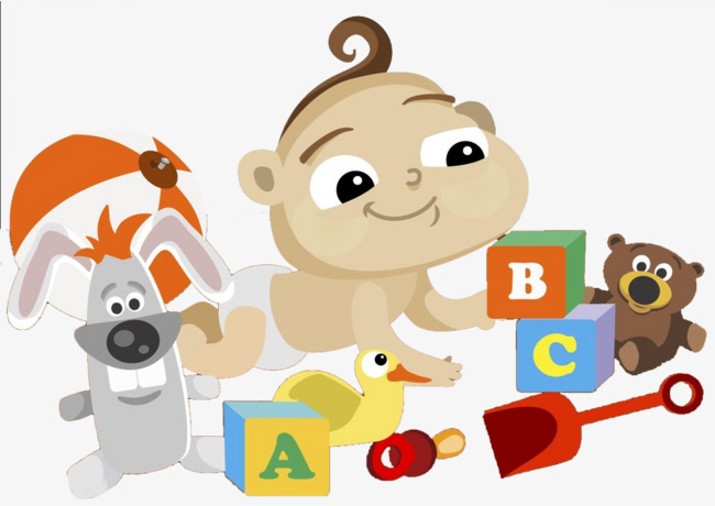Baby playing toy building. Block clipart animated