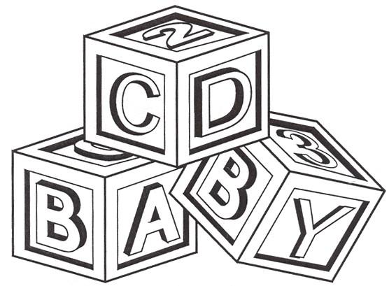 Shining design baby block. Blocks clipart black and white