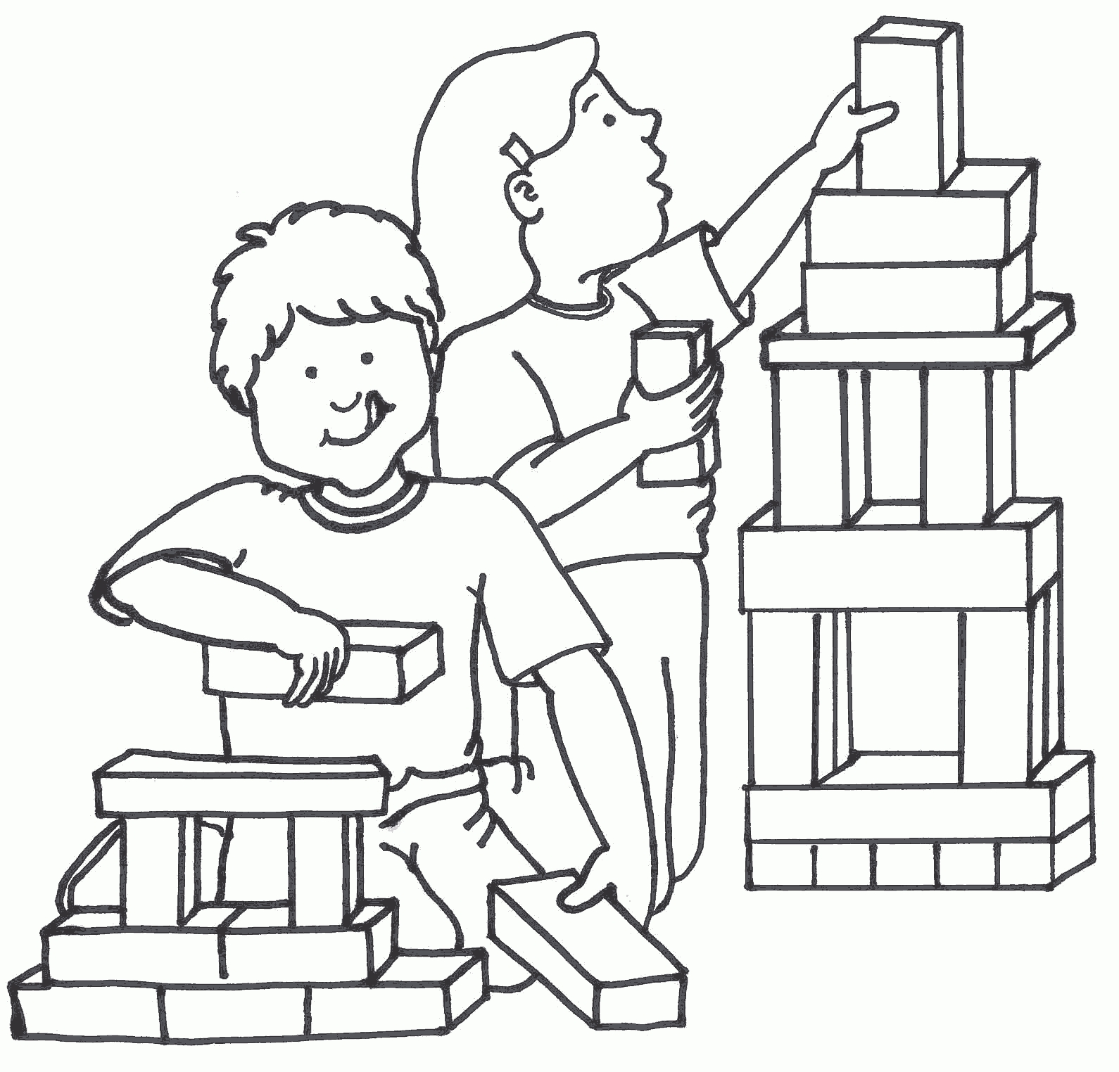 Blocks clipart black and white. Awesome of kids playing