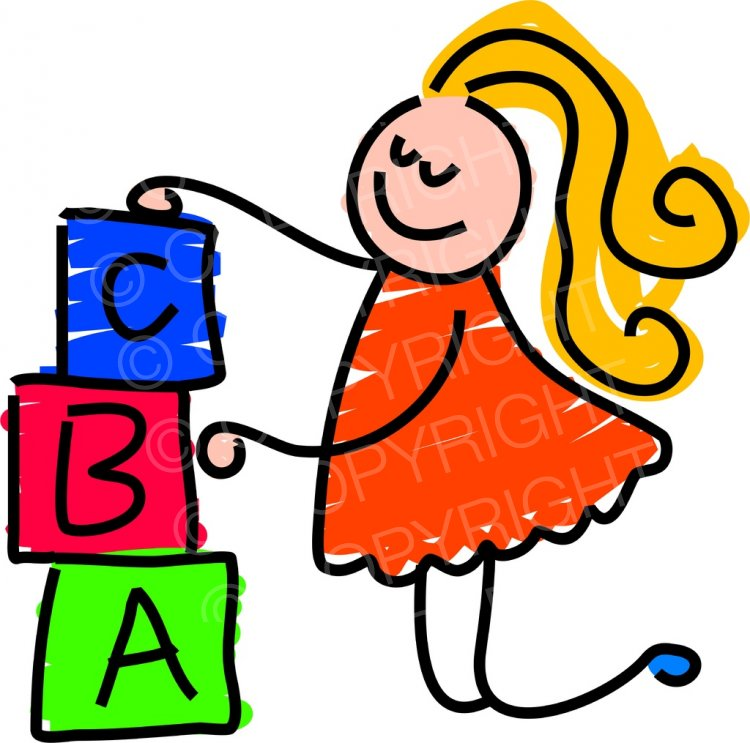 Toddler art building toy. Blocks clipart cartoon