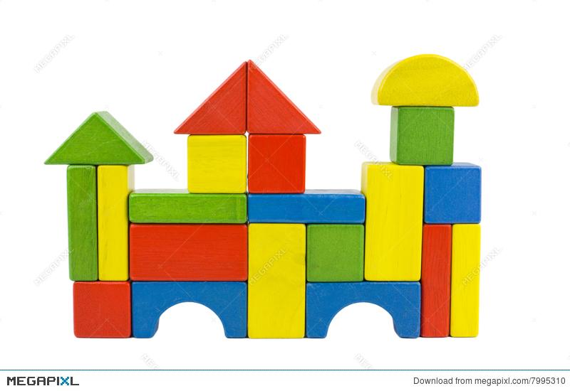 Wooden castle stock photo. Blocks clipart colored block