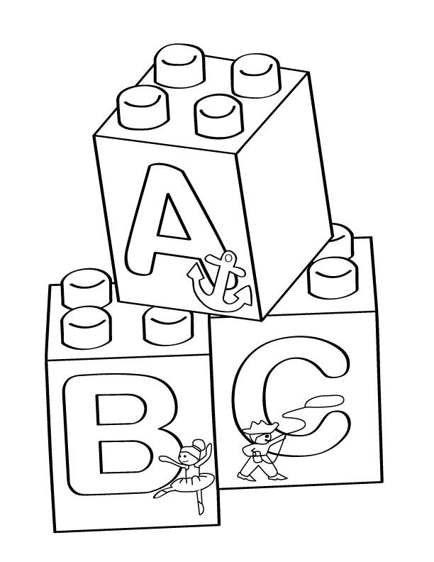 Blocks clipart colouring page. Lego a b c