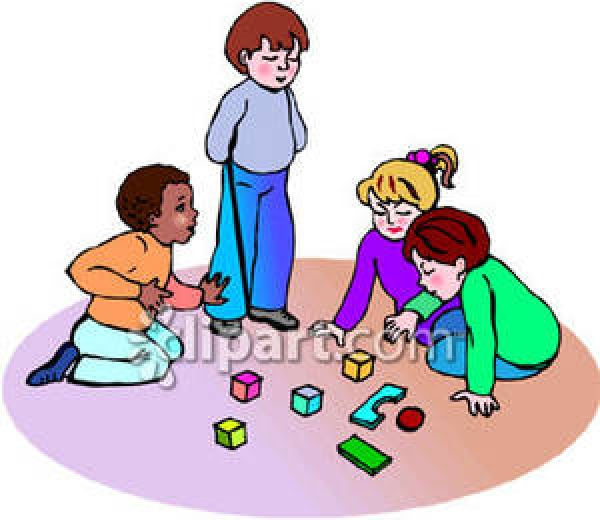 Block clipart kindergarten. Kids playing blocks panda