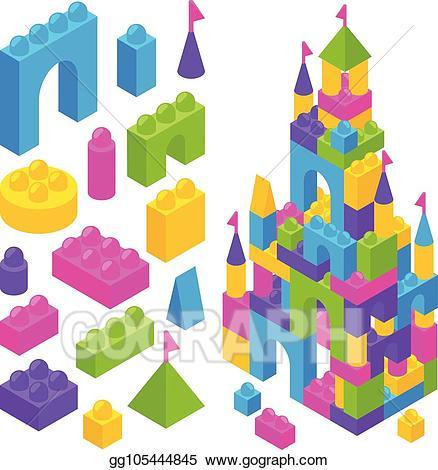 Blocks clipart vector. Art toy constructor isometric
