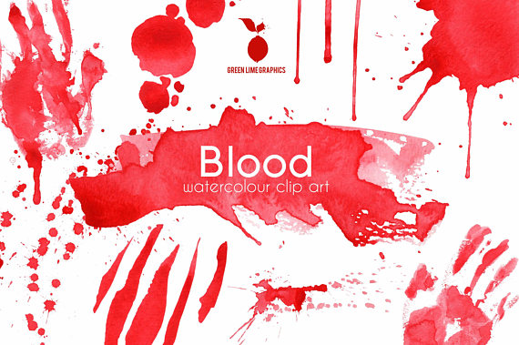 Halloween splatter murder mystery. Blood clipart blood stain