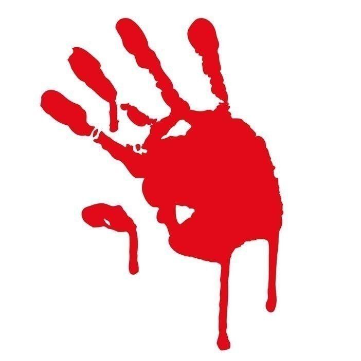 Bloody hand print donation. Blood clipart handprint