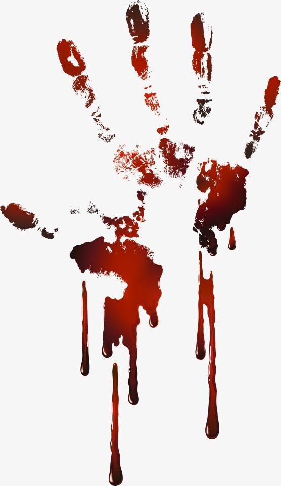 Blood clipart handprint. Vector red fingerprint hand